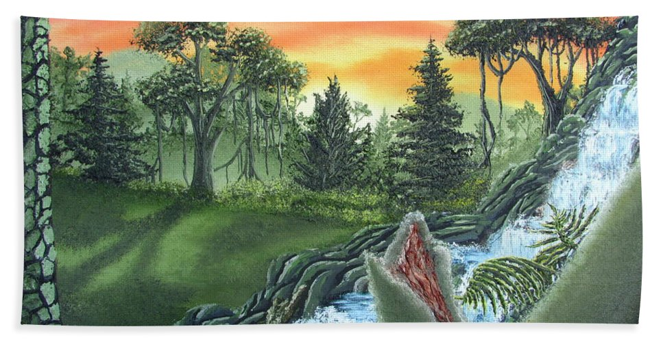 Forest Sunset Waterfall Canvas Prints Landscape Canvas Prints Painting Oldgrowth Boreal Forest Waterfall Cascade Paintings Nature Images Oldgrowth Forest Paintings Boreal Forest Paintings Appalachian Forest Paintings Forest Landscape Paintings Woodland Landscape Oil Paintings Mature Forest Sunset Paintings Fine Art Natural Landscape Oil Paintings Forest Waterfall Oil Paintings Forest Cascade Oil Paintings Forest Painting Prints Waterfall Painting Prints Natural Landscape Painting Prints Bath Sheet featuring the painting Forest Sunset Cascade by Joshua Bales