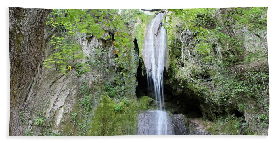 Waterfall Hand Towel featuring the photograph Forest With Waterfall by Goce Risteski