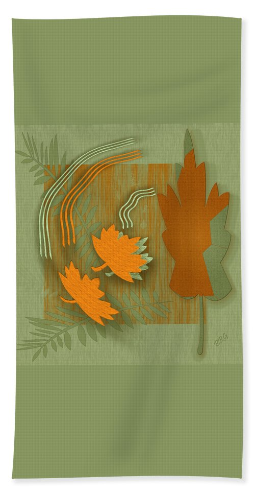 Abstract Still Life Hand Towel featuring the digital art Forever Leaves by Ben and Raisa Gertsberg
