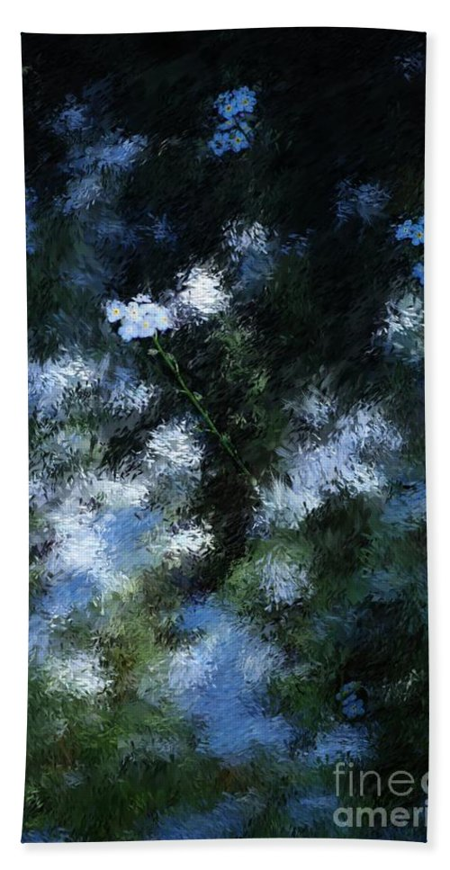 Abstract Hand Towel featuring the digital art Forget Me Not by David Lane