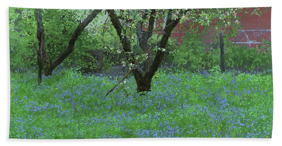 Landscape Hand Towel featuring the painting Forget Me Not Flowers by Simon Kozhin