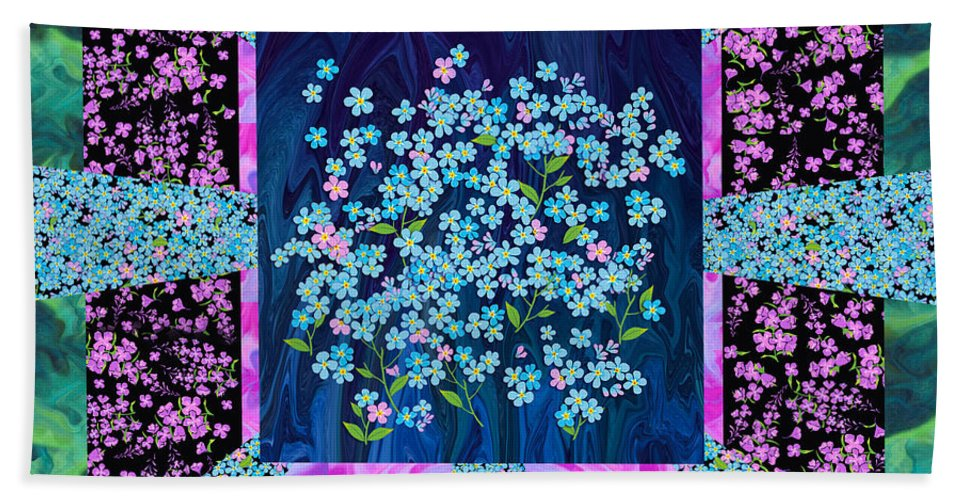 Forget Me Nots By Clothworks Bath Sheet featuring the mixed media Forget Me Nots Fabric By Clothworks by Teresa Ascone
