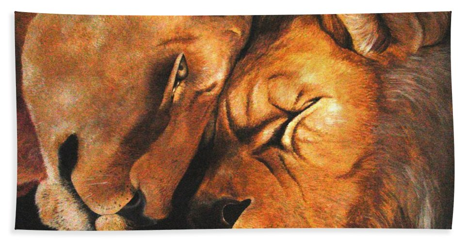 Lion Hand Towel featuring the painting Forgiven by Glory Fraulein Wolfe