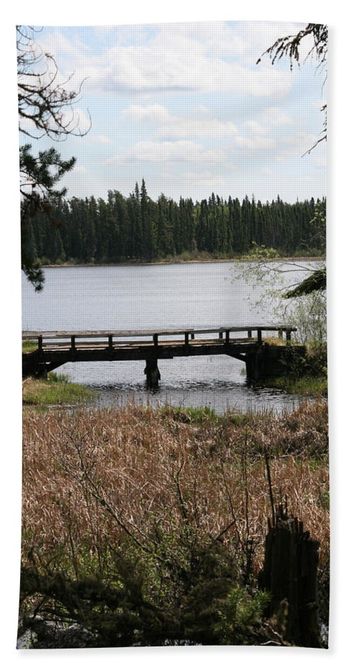 Lake Water Scenery Bridge Flooding Forest Nature Beauty Trees Hand Towel featuring the photograph Forgotten by Andrea Lawrence