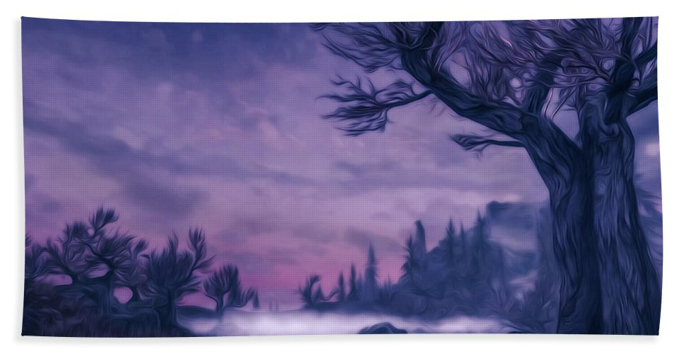 Landscape Hand Towel featuring the digital art Forgotten Dreams by Andrea Mazzocchetti
