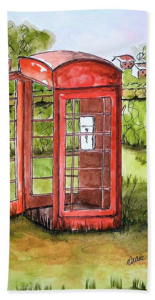 Phone Hand Towel featuring the painting Forgotten Phone Booth by Diane Palmer
