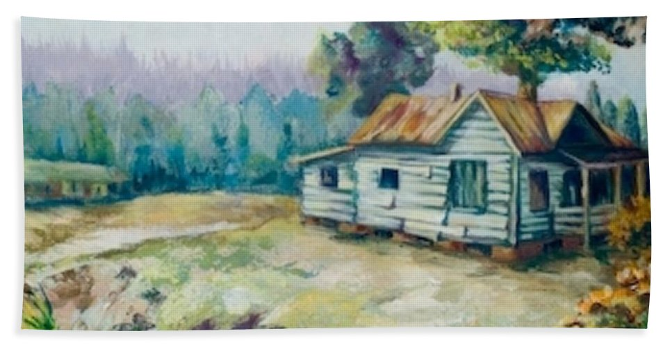 Old Houses Hand Towel featuring the painting Forgotten Places II by Elisabeta Hermann