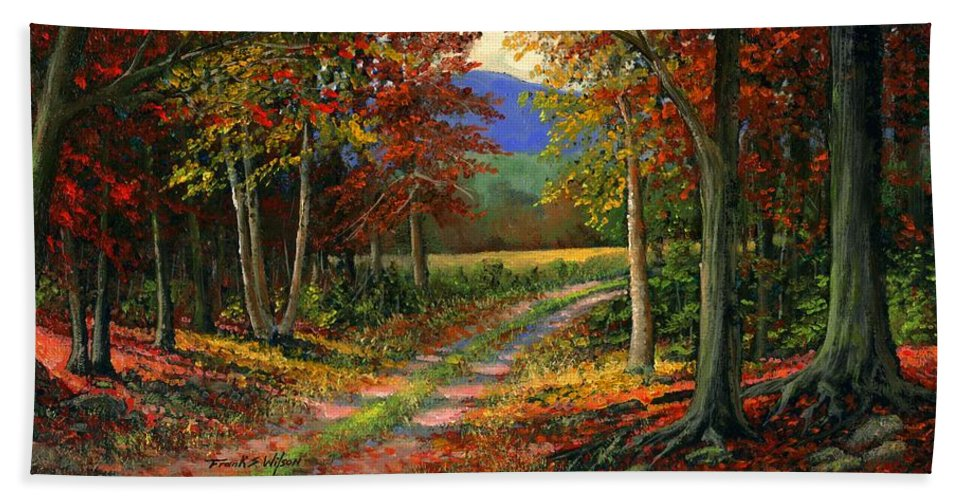 Landscape Hand Towel featuring the painting Forgotten Road by Frank Wilson