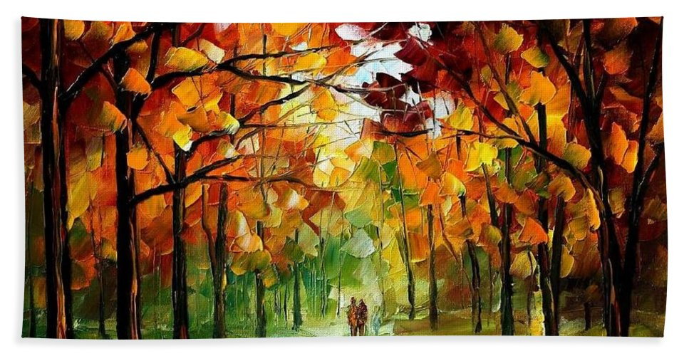 Jandscape Hand Towel featuring the painting Forrest Of Dreams by Leonid Afremov