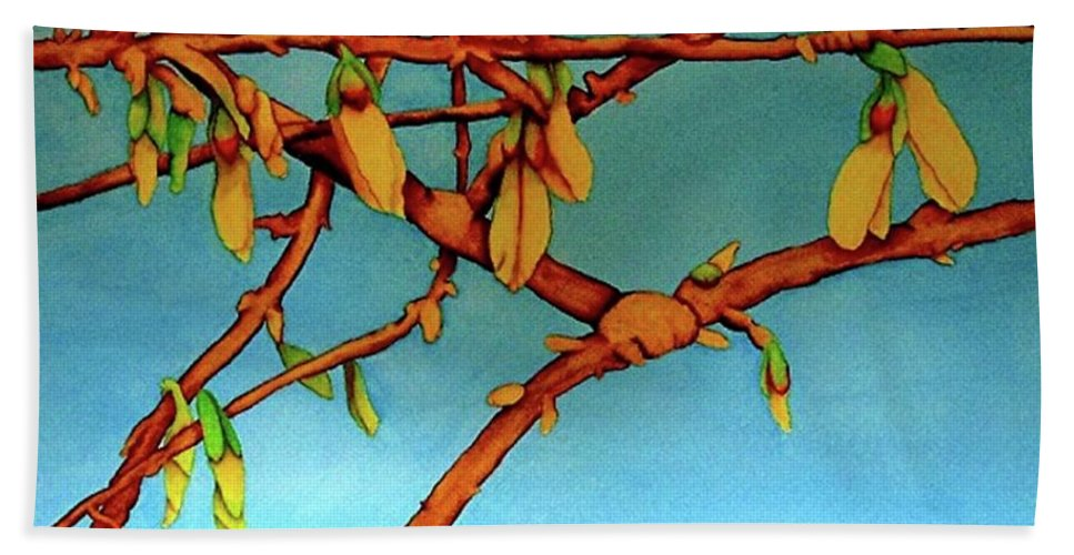 Forsythia Bath Sheet featuring the painting Forsythia by Nancy Riedell