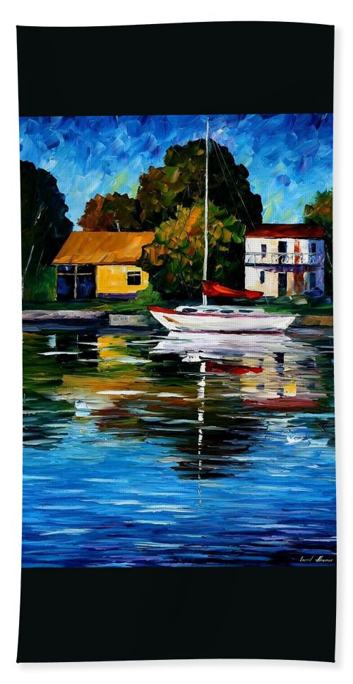 Afremov Hand Towel featuring the painting Fort Lauderdale - Florida by Leonid Afremov