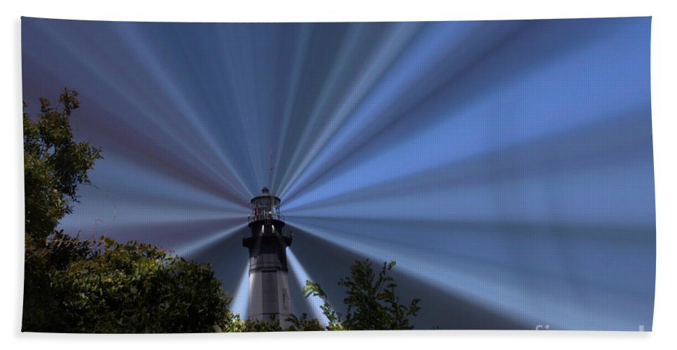 Lighthouse Hand Towel featuring the photograph Fort Story Lighthouse by Carol Turner