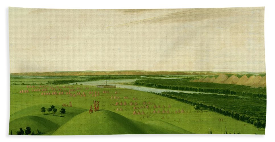 River Bath Sheet featuring the painting Fort Union, Mouth Of The Yellowstone River, 2000 Miles Above St. by George Catlin