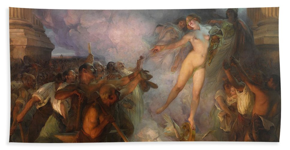 Paul Francois Quinsac Bath Sheet featuring the painting Fortuna Passes Guided By Wisdom And Economy She Spreads Gifts To Workers by Paul Francois Quinsac