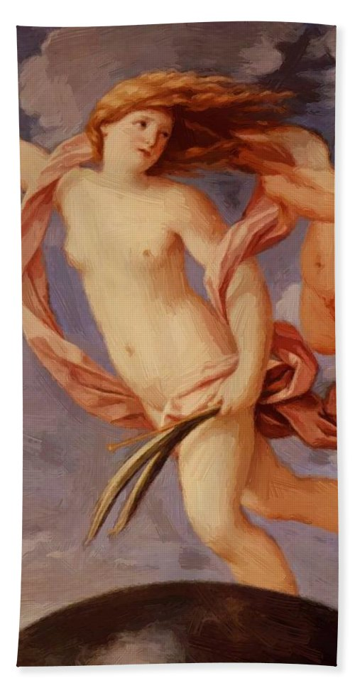 Fortune Hand Towel featuring the painting Fortune 1637 by Reni Guido