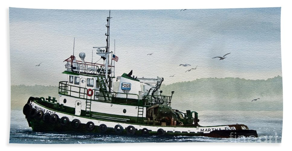 Tugs Bath Sheet featuring the painting Foss Tugboat Martha Foss by James Williamson