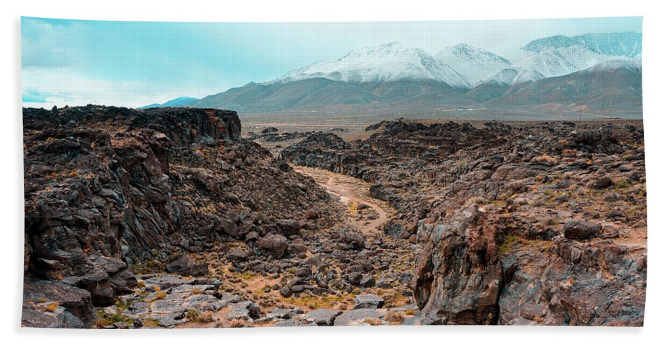 Landscape Bath Sheet featuring the photograph Fossil Falls by Joshua Hernandez