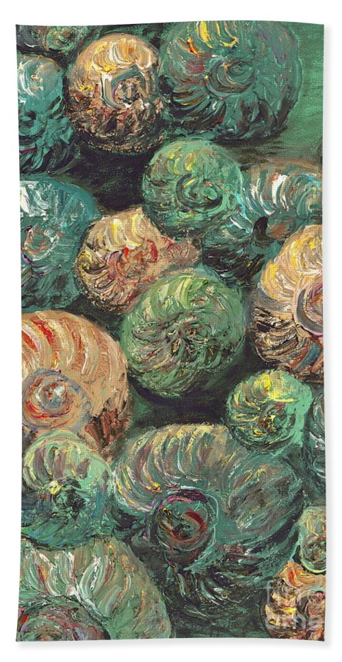 Shells Bath Towel featuring the mixed media Fossil Shells by Nadine Rippelmeyer