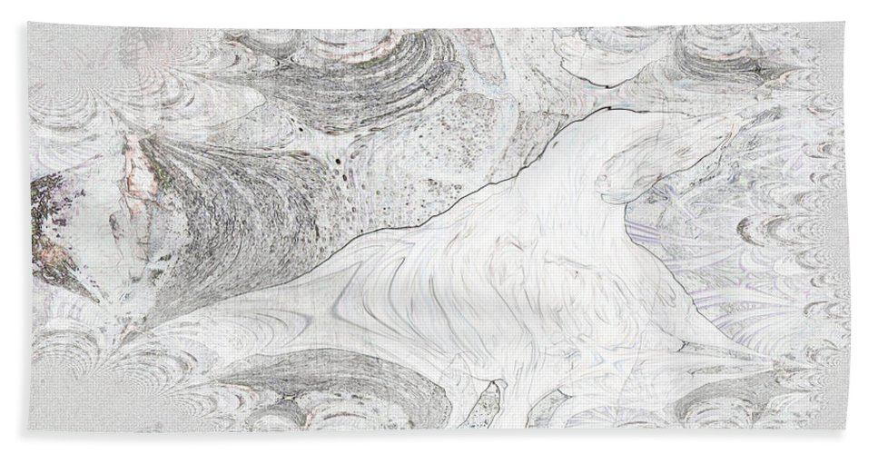 Fossil Horse Water Sand Bone Stone Abstract Wild Visions Bath Sheet featuring the photograph Fossilizing by Andrea Lawrence
