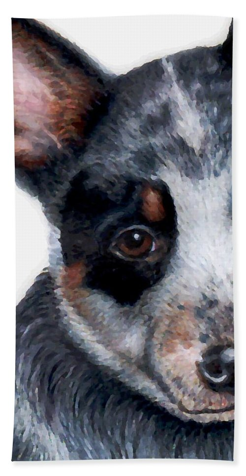 Australian Cattle Dog Hand Towel featuring the drawing Foster Detail by Kristen Wesch