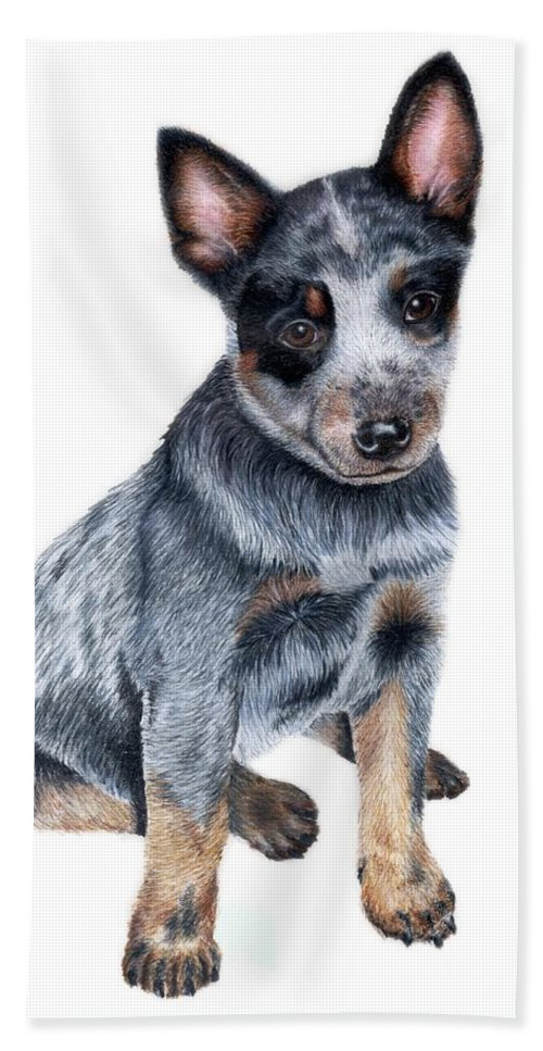Dog Hand Towel featuring the drawing Foster by Kristen Wesch