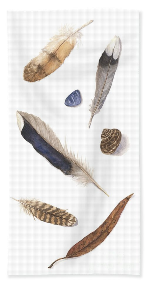 Feathers Bath Towel featuring the painting Found Treasures by Lucy Arnold