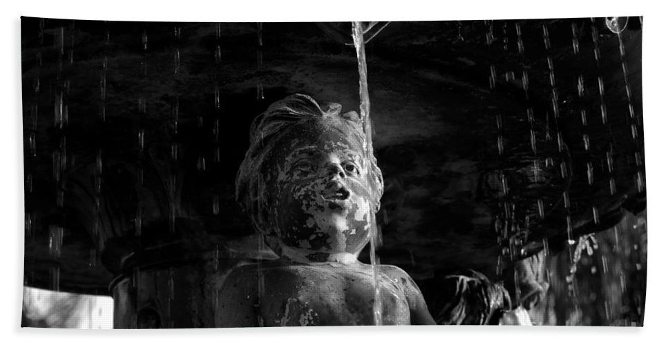 Water Fountain Bath Sheet featuring the photograph Fountain Child by David Lee Thompson