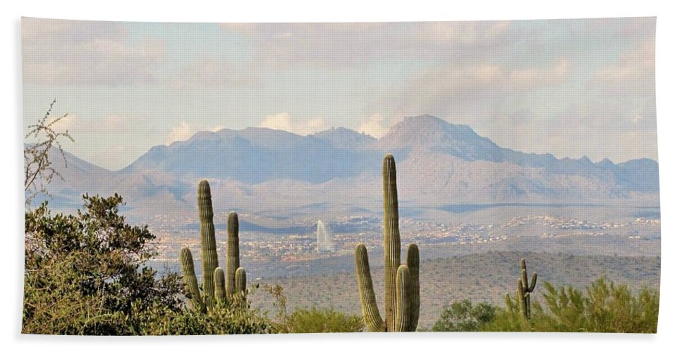 Fountain Hills Hand Towel featuring the photograph Fountain Hills Arizona by Marilyn Smith