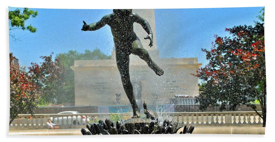 Boy Hand Towel featuring the photograph Fountain In Spring by Jost Houk