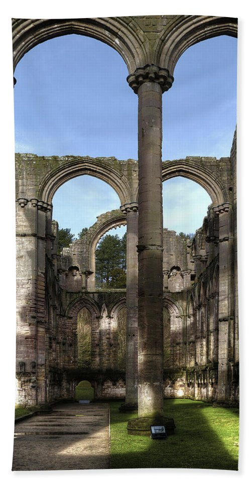 Castle Hand Towel featuring the photograph Fountains Abbey 4 by Svetlana Sewell