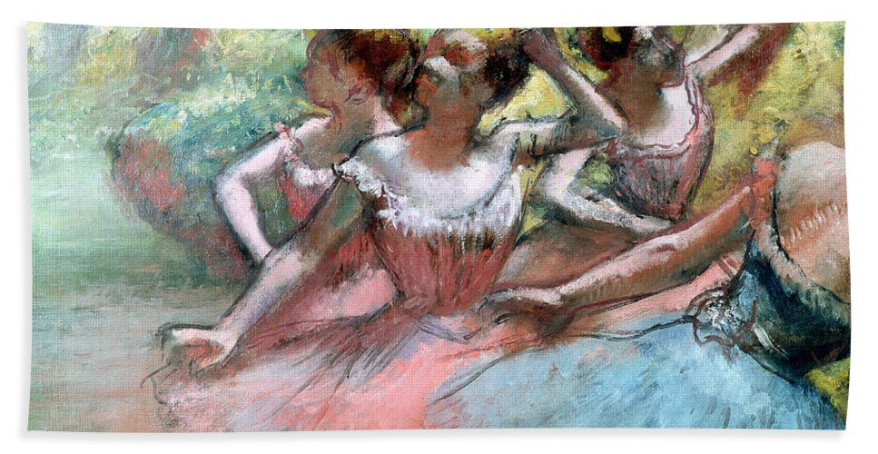 4 Bath Sheet featuring the pastel Four Ballerinas On The Stage by Edgar Degas
