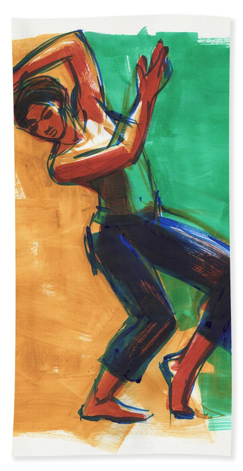 Dancer Hand Towel featuring the painting Four Colors Movement by Judith Kunzle