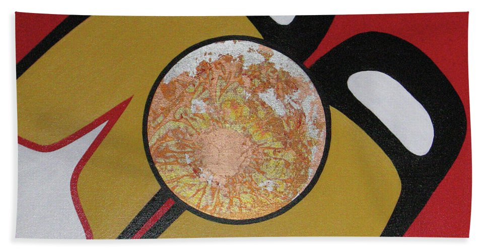 Abstract Bath Sheet featuring the painting Four Corners - Haida by Elaine Booth-Kallweit