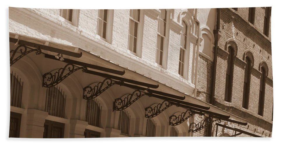 Sepia Bath Sheet featuring the photograph Four Corners In New Orleans by Carol Groenen