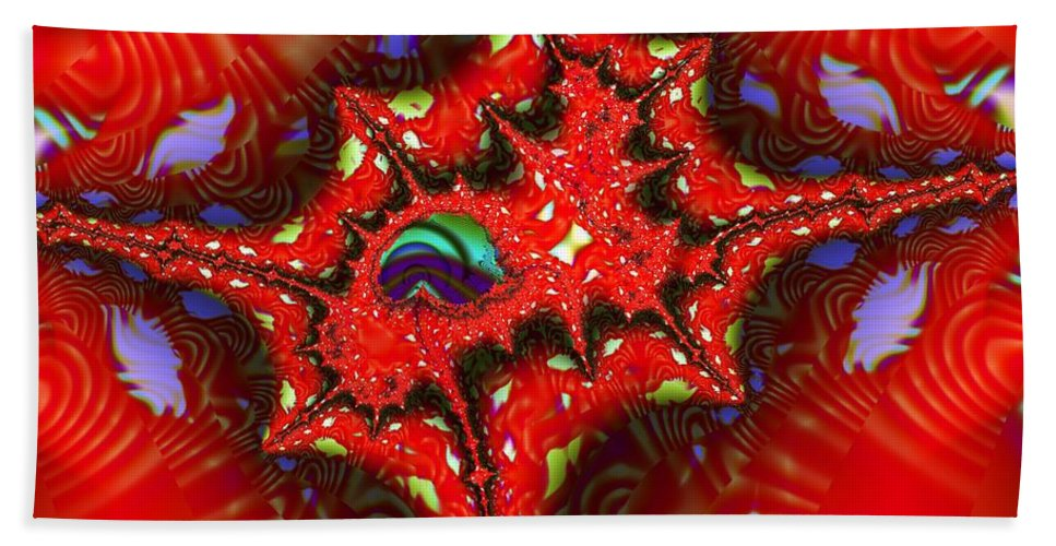 Four Corners Hand Towel featuring the digital art Four Corners Seed Pod by Ron Bissett