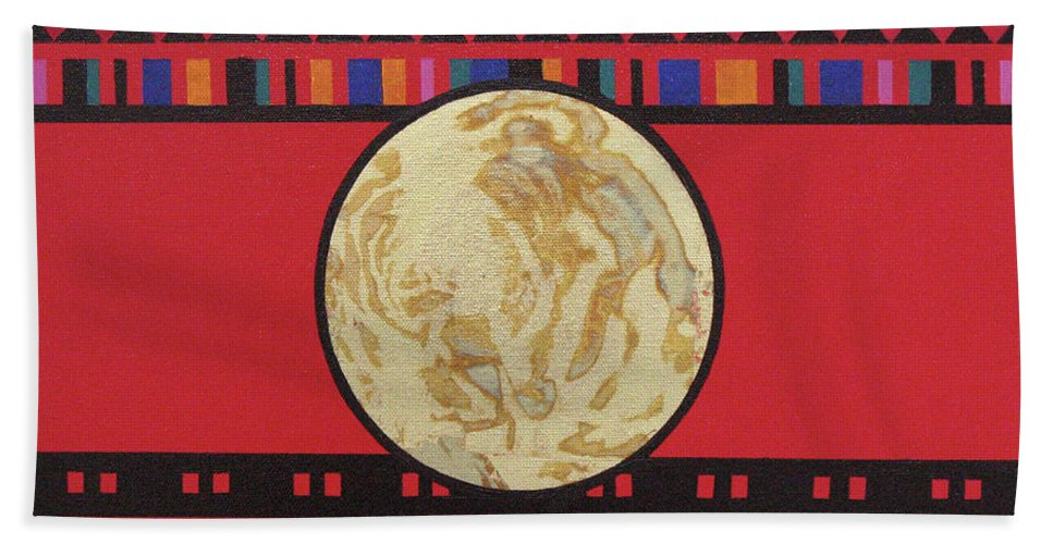 Abstract Bath Sheet featuring the painting Four Corners - Seminole by Elaine Booth-Kallweit