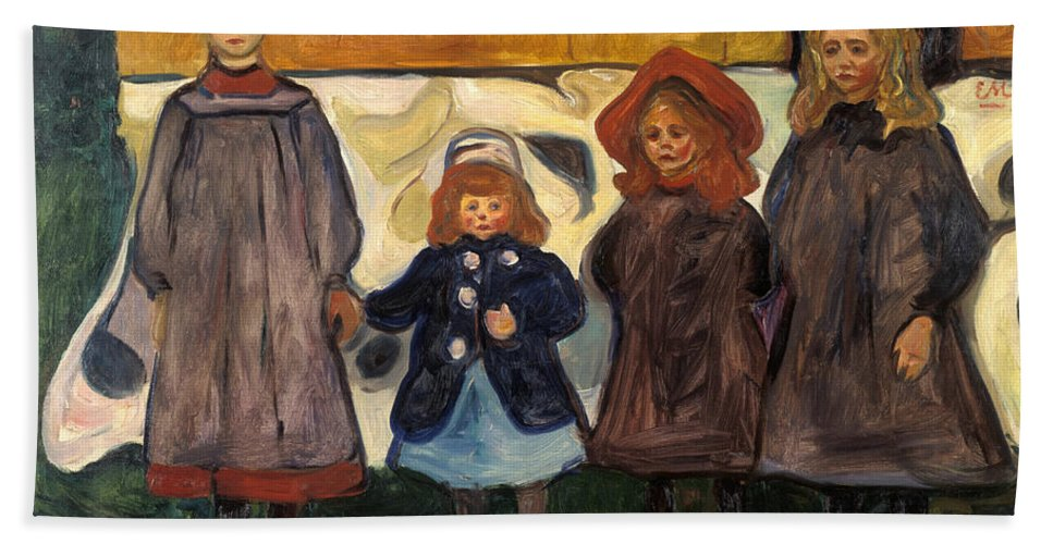19th Century Norwegian Painters Bath Sheet featuring the painting Four Girls In Asgardstrand by Edvard Munch