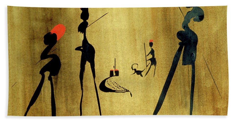 Animals Hand Towel featuring the painting Incantation by Heinz Sterzenbach