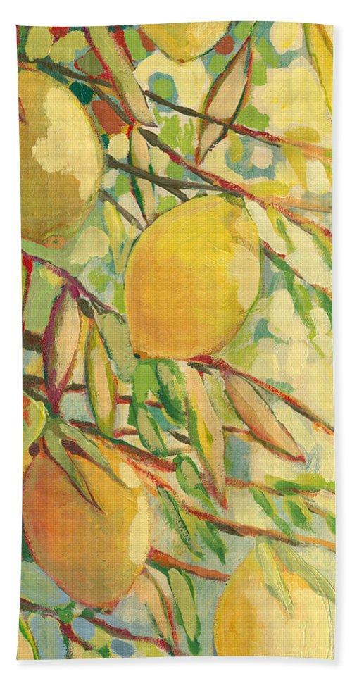 Lemon Bath Towel featuring the painting Four Lemons by Jennifer Lommers