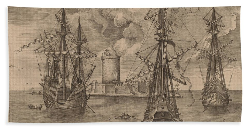 Hand Towel featuring the drawing Four-master (left) And Two Three-masters Anchored Near A Fortified Island With A Lighthouse by Frans Huys After Pieter Bruegel The Elder