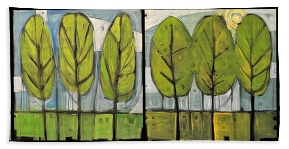 Trees Hand Towel featuring the painting Four Seasons Tree Series by Tim Nyberg