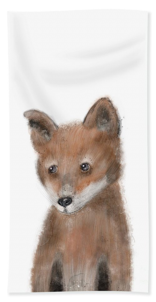 Fox Bath Towel featuring the painting fox by Bri Buckley