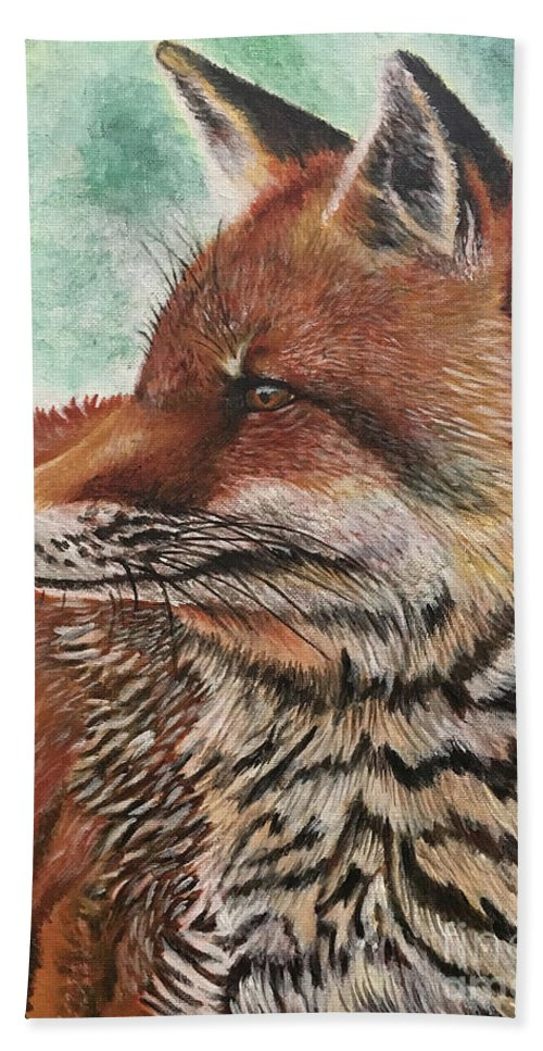 Fox Hand Towel featuring the painting Fox by Monica Aguilar