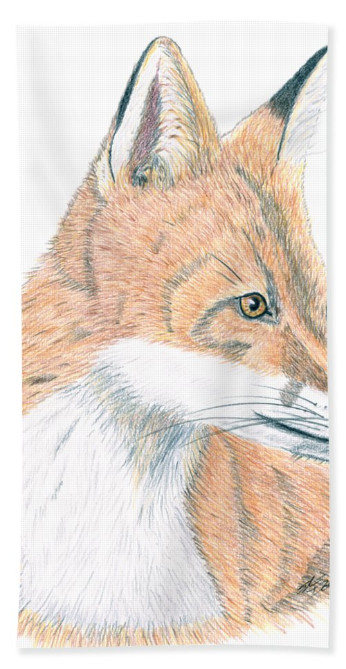 Fox Hand Towel featuring the drawing Fox by Stacie Dowdy