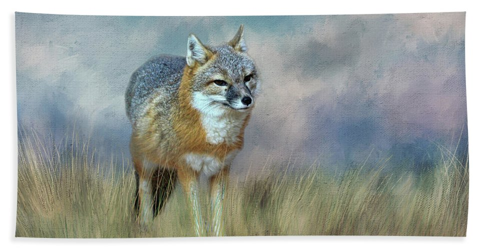 Fox Hand Towel featuring the photograph Foxy by Judy Vincent