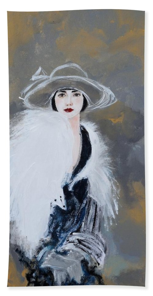 Lady With White Fur Bath Towel featuring the painting Foxy Lady by Susan Adams