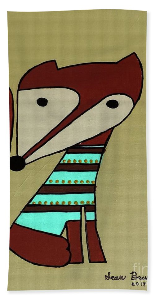 Fox Hand Towel featuring the painting Foxy Moxy by Sean Brushingham