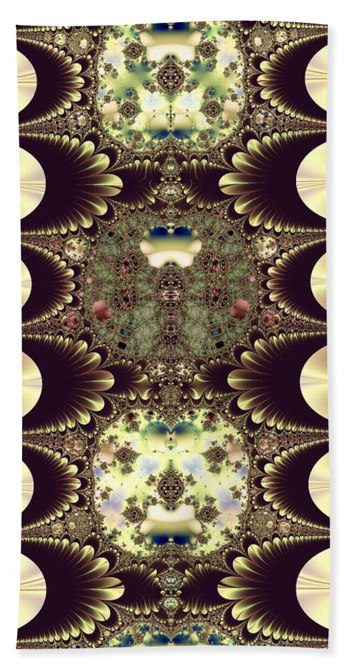 Cameos In Gold And Ivory Hand Towel featuring the digital art Fractal 42 Cameos In Gold And Ivory by Rose Santuci-Sofranko
