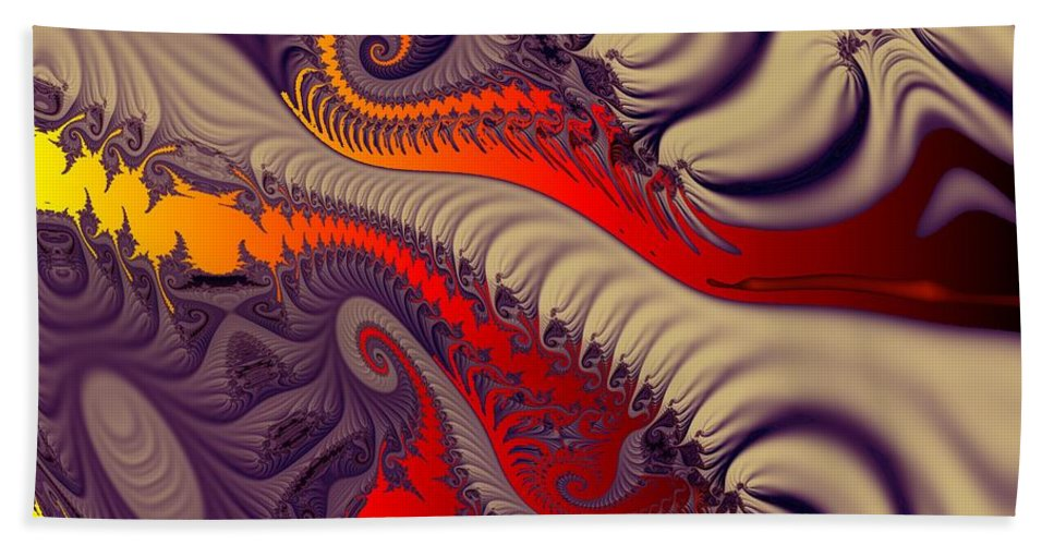 Fractal Art Hand Towel featuring the digital art Fractal Fill by Ron Bissett