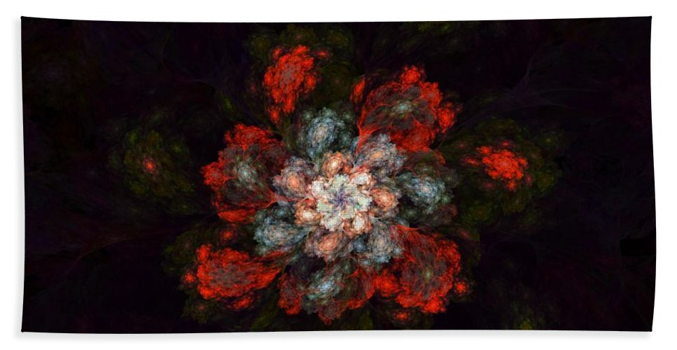 Digital Painting Bath Sheet featuring the digital art Fractal Floral 02-12-10-a by David Lane